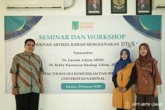 (Kiri-kanan) Pemateri Dr. Robby Kurniawan Harahap, S.Kom., MT., Dosen FTKI Dr. Fauziah, S.Kom., MMSI., Wakil Dekan FTKI Dr. Septi Andryana, S.Kom. MMSI.