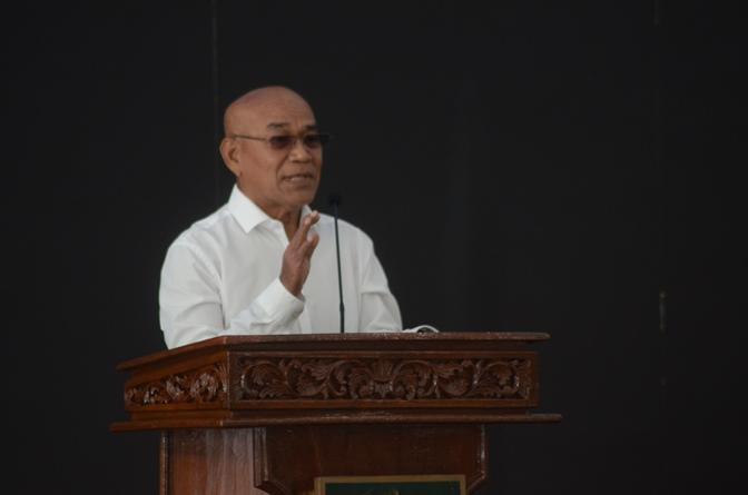 Rektor Universitas Nasional Dr. El Amry Bermawi Putera, M.A. saat memberi sambutan dalam acara Launching System Digital Library pada Kamis 10 Juni 2021 di Gedung Cyber Library UNAS