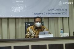 Ketua Pengurus Yayasan Memajukan Ilmu dan Kebudayaan (YMIK), Dr. Ramlan Siregar, M.Si. saat memberikan sambutan dalam acara Peresmian Universitas Siber Asia oleh Wakil Presiden Republik Indonesia (RI), Prof. Dr. (HC) KH Ma'ruf Amin pada Selasa, 22 September 2020