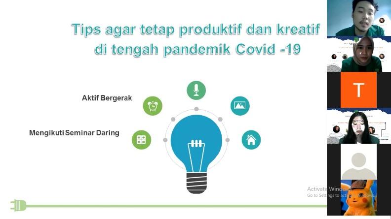 Pemberian tips tetap produktif dan kreatif selama di rumah  oleh mahasiswa  dalam kegiatan PKM pada Sabtu 26 Desember 2020