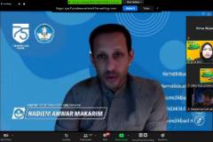 Menteri Pendidikan dan Kebudayaan (Mendikbud) Nadiem Makarim saat memberikan sambutan dalam Pengenalan Lingkungan dan Budaya Akademik (PLBA) via online pada Kamis, (17/9)