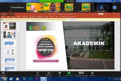 Pemberian materi tentang akademik oleh instruktur dalam kegiatan Pengenalan Lingkungan dan Budaya Akademik (PLBA) via online pada Kamis, (17/9)