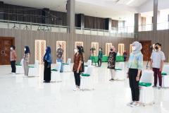 Perwakilan mahasiswa dari masing-masing fakultas yang hadir dalam pembukaan Pengenalan Lingkungan Dan Budaya Akademik (PLBA) semester ganjil tahun akademik 2021/2022 digedung cyber Universitas Nasional Kamis, (23/9)