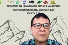 Ketua Program Studi Biologi UNAS Drs. Gautama Wisnubudi, M.Si., menyampaikan materi dalam kegiatan PLBA Fakultas Biologi pada hari Sabtu, 25 September 2021