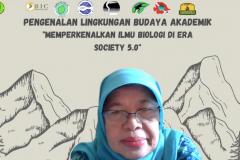 Wakil Dekan Fakultas Biologi UNAS Dr. Sri Endarti Rahayu, M.Si., menyampaikan kata sambutan dalam kegiatan PLBA Fakultas Biologi pada hari Sabtu, 25 September 2021