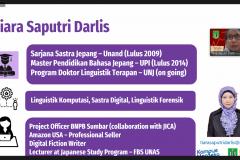 Penyampaian materi oleh instruktur dalam PLBA Fakultas Bahasa dan Sastra Sabtu 25 September 2021