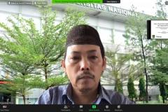 Ketua Pusat Pengajian Islam Universitas Nasional Dr. Fachruddin Mangunjaya saat memberikan sambutan dalam kegiatan Workshop Pendidikan Lingkungan Hidup untuk Kalangan Pesantren pada Rabu, 7 April 2021 di Hotel Premiere Pekanbaru, Riau