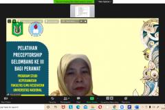 Ketua Kurikulum Asosiasi Institusi Pendidikan Ners Indonesia (AIPNI) Jakarta, Dr. Irna Nursanti M.Kep., SP. Mat. dalam kegiatan Pelatihan preceptorship yang dilakukan secara Online pada 22 hingga 23 Januari 2021