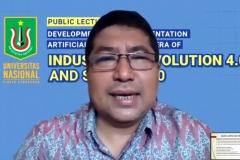Prof. Iskandar Fitri, S.T., M.T sedang menjelaskan materinya dalam webinar
