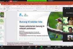 """Presentasi materi oleh Conservation Manager Burung Indonesia Ferry Hasudungan dalam webinar Diskusi Konservasi dengan tema """"Mencintai dan Melindungi Puspa & Satwa Sebagai Bagian dari Kita"""" pada Sabtu (7/11)"""