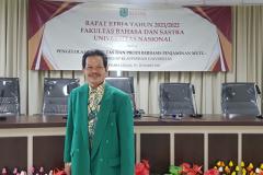 Dekan Fakultas Bahasa dan Sastra, Drs. Somadi, M.Pd., dalam RAKER Tahunan pada hari Jumat-Sabtu, 19-20 Maret 2021 bertempat di Menara UNAS, Ragunan