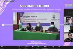 "Webinar Student Forum ""Comparative Analysis on Indonesian and Japanese Society"" yang diselenggarakan Prodi Sastra Jepang pada Sabtu, 18 September 2021 melalui zoom meeting"