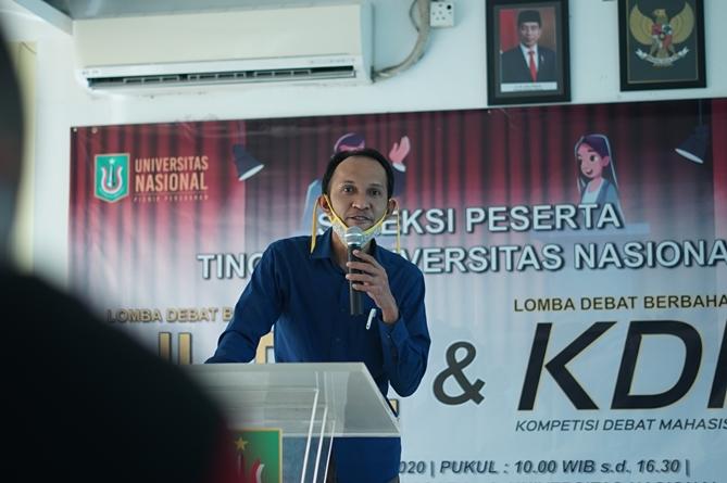 Sambutan oleh ketua pelaksana kegitan KDMI 2020 Universitas Nasional