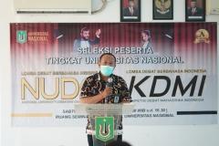 Kepala Biro Administrasi Kemahasiswaan Kamaruddin Salim, S.Sos.,M.Si. saat memberikan sambutan pada kegiatan seleksi KDMI 2020