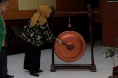 Pemukulan Gong - Dekan FISIP Truly Wangsalegawa M.A.,M.Ed.,P.hD saat membuka acara