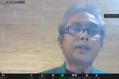 Dekan Fakultas Pertanian Unas, Ir. Inkorena G.S. Sukartono, M.Agr.  sedang memberikan sambutannya dalam Seminar Nasional Episode ke 138 Fakultas Pertanian Unas dengan Ditjen Tanaman Pangan dan Propaktani