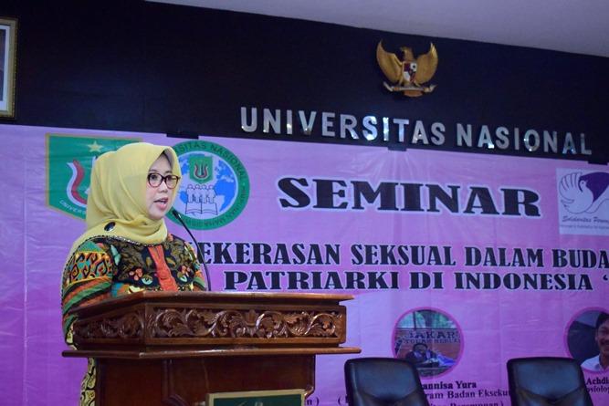 Kepala Program Studi Sosiologi Unas, Dr. Erna E. Chotim, M.Si. saat memberikan sambutan