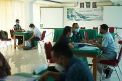 Proses asesment Asesi oleh para asesor di Ruang Seminar, Universitas Nasional