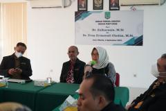 Sambutan oleh Pjs. Dekan FISIP UNAS Dr. Erna Ermawati Chotim, M.Si. dalam acara serah terima jabatan dekan fisip pada Rabu, 1 September 2021 diruang seminar UNAS