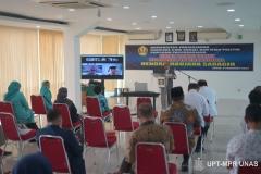 Proses sidang terbuka promosi doktor Dr. Hendra Maujana Saragih, S.I.P., M.Si.  di Ruang Seminar Universitas Nasional, 08 Februari 2021