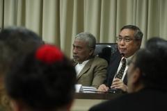 Kepala Yayasan Memajukan Ilmu dan Kebudayaan, Dr. Drs. Ramlan Siregar, M.Si dalam sidang senat terbuka