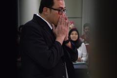 Sdr Dr. Muhammad Ramdan saat sedang mendengarkan pembacaan hasil sidang dari promotor, di Jakarta (21/3).
