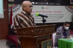 Pembacaan laporan akuntabilitas kinerja rektor Dr.Drs. El Amry Bermawi Putera, M.A. Universitas Nasional periode 2017-2021