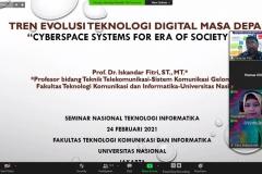 Pemberian materi oleh Narasumber/Wakil Rektor Bidang Akademik Universitas Nasional Prof. Dr. Iskandar Fitri, S.T.,M.T. dalam acara Seminar Nasional Teknologi Sains dan Informasi (SNTSI) – Batch #1 pada 24 Februari 2021 melalui aplikasi zoom