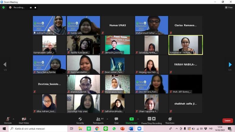 Saat acara Coaching Clinic Program Kreatifitas Mahasiswa 2021 Prodi Sosiologi berlangsung melalui daring  pada Minggu, 14 Februari 2021