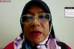 """Guru Besar National University of Malaysia Prof. Dr Salawati Mat Basir saat memaparkan materinya dalam acara Webinar Magister Ilmu Hukum Sekolah Pascasarjana Universitas Nasional Studium Generale dengan tema """"Migration and Regulation In The Term Of The Aspect Of Human Rights"""" pada Sabtu, 27 Maret 2021 melalui aplikasi Zoom dan Youtube"""