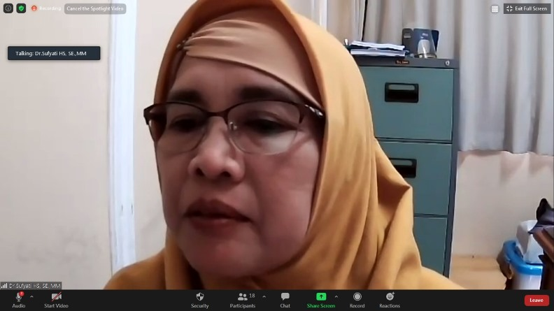 Dosen FEB Unas selaku Moderator dalam kegiatan Tarhib Ramadhan FEB 1442 H