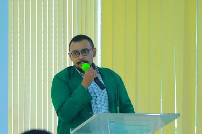 Ketua Umum HIPMI PT UNAS Ragil Kasuda pada Temu Mahasiswa HIPMI Perguruan Tinggi Universitas Nasional yang diselenggarakan Inkubator Wirausaha UNAS pada hari Kamis, 15 April 2021