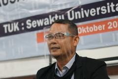 Kepala Inkubator Bisnis Wirausaha Mandiri Universitas Nasional Drs. Suadi Sapta Putra, M.Si., M.Si.M. saat memberikan sambutan dalam kegiatan Uji Kompetensi Kewirausahaan Industri jenjang IV, pada Senin, (5/10).