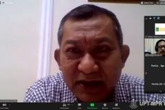 """DekanFakultas Ekonomi dan Bisnis Dr. Suryono Efendi, SE.,MM. saat memberikan sambutan dalam kegiatan Webinar Nasional """"Sewa Menurut PSAK 73 dan Aspek Perpajakan"""" pada Selasa, 27 Oktober 2020"""