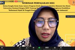 Moderator pada acara webinar UNAF 2021 Dita Nurul Aini Mustika Dewi, S.E., M.E.