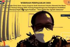 Ketua Program Studi Akuntasi Dr. Bambang Subiyanto, S.E.,M.Ak, CPA. saat memberikan sambutan pada webinar UNAF 2021