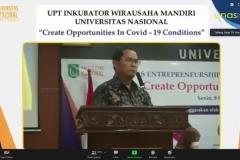 Sambutan oleh Kepala UPT Wirausaha Mandiri Unas, Drs. Suadi Sapta Putra, M.Si.M.