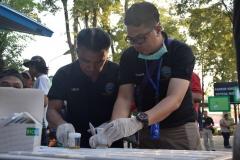 Pengecekan urine mahasiswa dan dosen UNAS oleh petugas BNN pada Selasa 25 Juni 2019, di Universitas Nasional