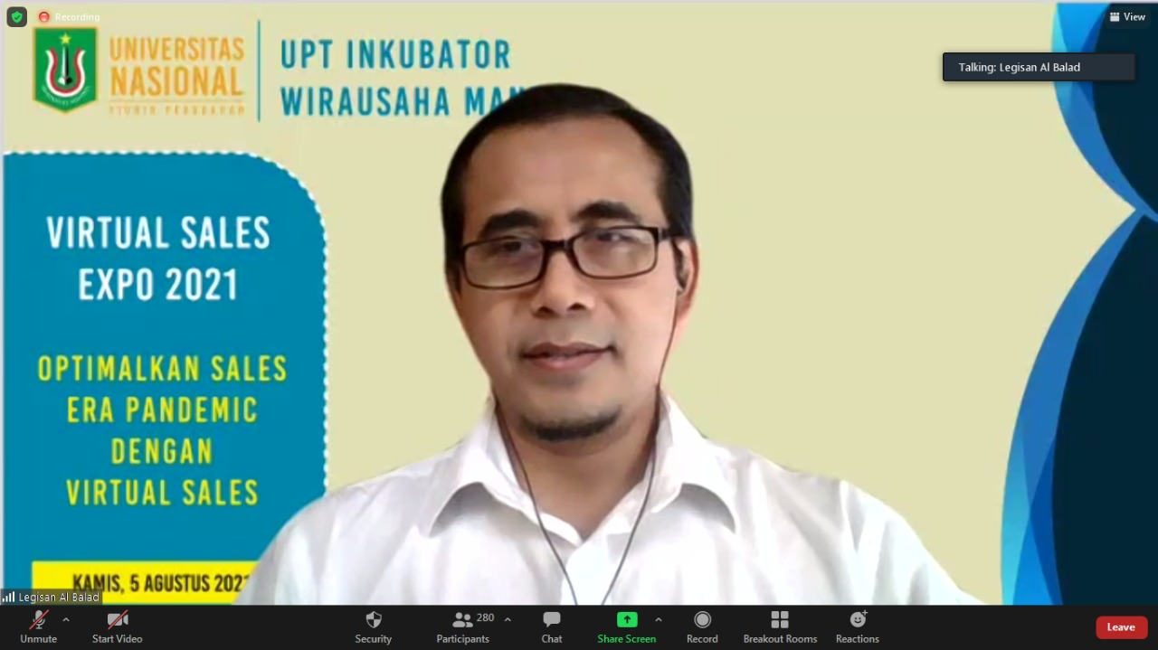 Pembicara dalam kegiatan Virtual Sales Expo 2021, Legisian S Samtafsir sedang memaparkan materinya