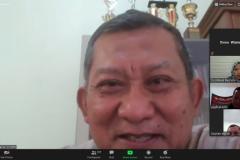 """DekanFakultas Ekonomi dan Bisnis Dr. Suryono Efendi, SE.,MM. saat memberikan sambutan dalam Webinar Series 3 Fakultas Ekonomi dan Bisnis Universitas Nasional """"Pengembangan Destinasi Pariwisata Pasca Pandemi Covid-19"""", di Jakarta, pada Jumat, (21/8)."""