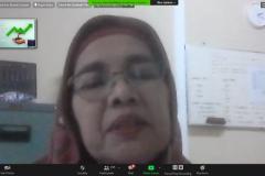"""Dosen FEB Universitas Nasional Dr. Sufyati HS., S.E., M.M.  saat memaparkan materinya dalam Webinar series 4 Fakultas Ekonomi dan Bisnis Universitas Nasional """"Tantangan Perekonomian Menghadapi New Normal di Indonesia"""" di Jakarta, Rabu (2/9)."""