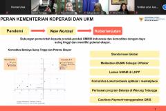 """Pemaparan presentasi dari Assisten Deputi Pemasaran Kementerian Koperasi dan UKM Destry Anna Sari di kegiatan Webinar Manajemen """"Strategi Pemasaran Bisnis Menghadapi Masa New Normal Covid-19"""" di Jakarta, pada Rabu (15/7)."""