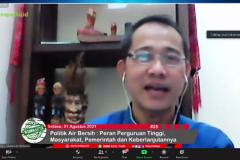 Pembukaan MC dalam Webinar Politik Air Bersih: Peran Perguruan Tinggi, Masyarakat, Pemerintah dan  Keberlanjutannya.