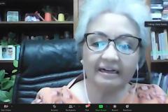 Ketua P4M Unas, Dr. Diana Fawzia, MA. selaku narasumber sedang memaparkan materinya dalam Webinar Politik Air Bersih: Peran Perguruan Tinggi, Masyarakat, Pemerintah dan  Keberlanjutannya.