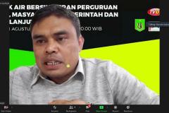 Anggota Komisi III DPRD Kabupaten Bogor, Nurodin, SH. selaku narasumber sedang memaparkan materinya dalam Webinar Politik Air Bersih: Peran Perguruan Tinggi, Masyarakat, Pemerintah dan  Keberlanjutannya.