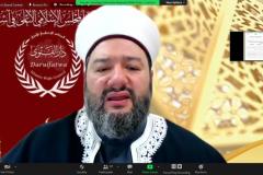 "Mufti of Australia Darul Fatwa Australia Dr. Sheikh Salim Alwan Al-Hussainiyy saat memaparkan presentasinya dalam kegiatan International Talk ""Palestine: Post Ceasefire, International Response"" pada Kamis, (27/5) melalui aplikasi zoom meeting"
