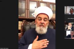 "Mufti of Ukraine, President of the Islamic University, Ukraine Dr. Sheikh Ahmad Tamim saat memaparkan presentasinya dalam kegiatan International Talk ""Palestine: Post Ceasefire, International Response"" pada Kamis, (27/5) melalui aplikasi zoom meeting"