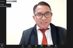 """Indonesia Council of Ulama (MUI), International Analyst from Universitas Nasional Dr. Robi Nurhadi saat memaparkan presentasinya dalam kegiatan International Talk """"Palestine: Post Ceasefire, International Response"""" pada Kamis, (27/5) melalui aplikasi zoom meeting"""