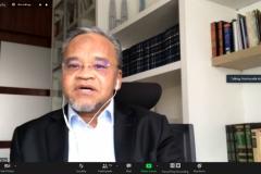 """The Chairman of Nassar Foundation, Malaysia Dato Dr. Nasharudin Mat Isa saat memaparkan presentasinya dalam kegiatan International Talk """"Palestine: Post Ceasefire, International Response"""" pada Kamis, (27/5) melalui aplikasi zoom meeting"""