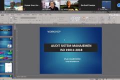 """Kegiatan Webinar Seri Update Knowledge dengan tema Implementasi ISO 21001:2018 di Perguruan Tinggi """"Workshop Audit Mutu Internal sesuai ISO 19011:2018"""" pada hari Selasa, 4 April 2021"""